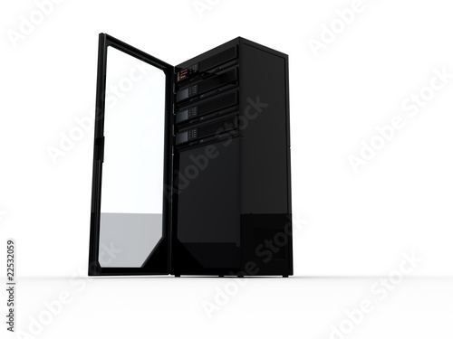 Black computer server with an open door