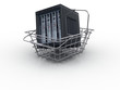 Black computer server in the shopping cart
