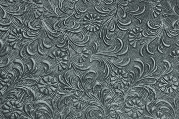 embossed floral panel, pewter