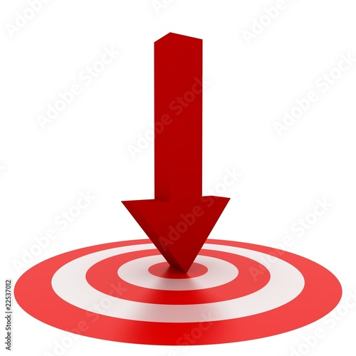 Red Arrow on center isolated on white background