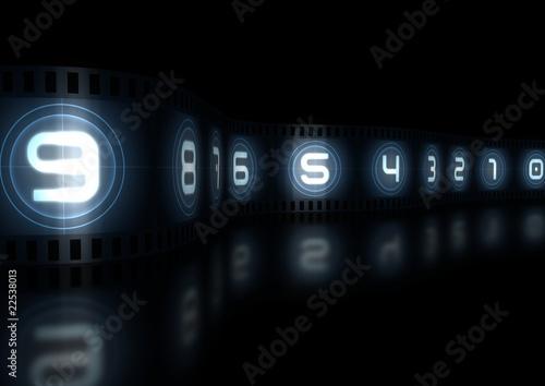 glowing film strip countdown