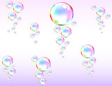 Bubbles in a pink water