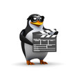 3d Penguin with clapper board