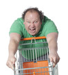 homme euphorique au supermarché