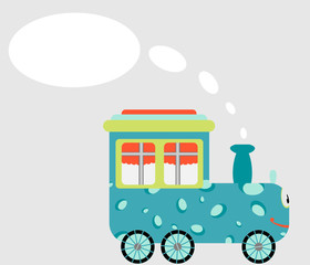 cartoon train with space for text