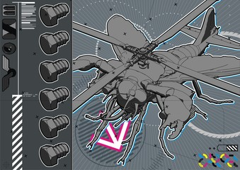 Attack Fly Technical Illustration.
