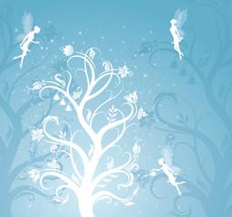 Magic tree with fairies.