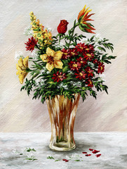 Bunch of flowers in a glass vase