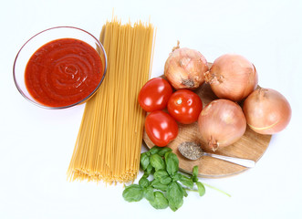 Ingredients for spaghetti bolognese or napoli on white