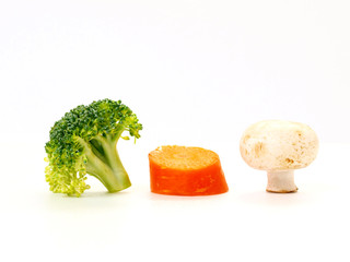 broccoli carrot and mushroom isolated