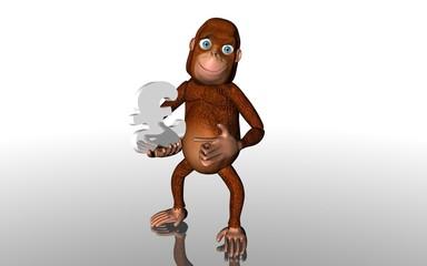 Affe Pfund Zeichen weiß