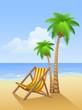Chaise lounge on a beach