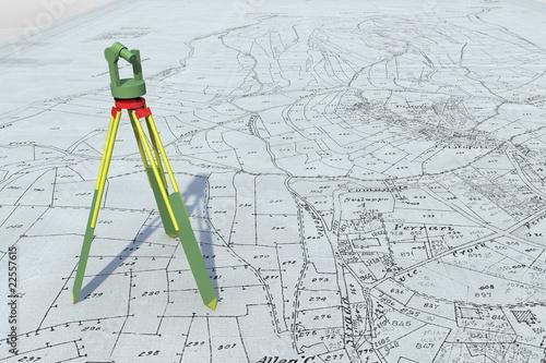 Leinwanddruck Bild Mappa catastale con teodolite