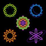 Neon celestial symbols poster