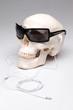 Totenkopf mit Sonnenbrille und Ohrhörern hört Musik