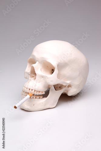 Cooler rauchender Totenkopf mit Zigarette