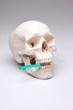 Totenkopf mit Spritze im Mund