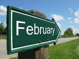 FEBRUARY road sign poster