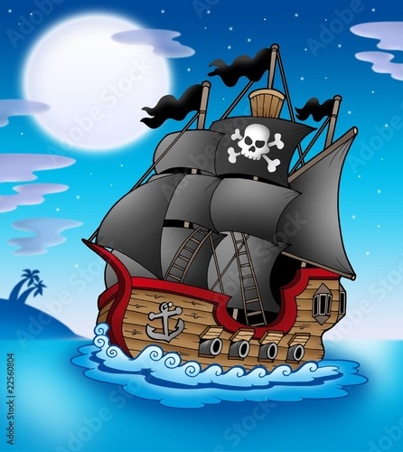 Fotobehang Piraten Pirate vessel at night