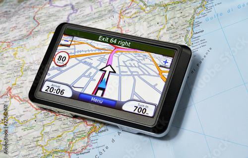 Satellite navigation system on the map