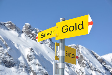 GOLD-SILVER-BRONZE road signs