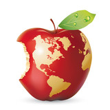 Fototapety Vector red apple earth