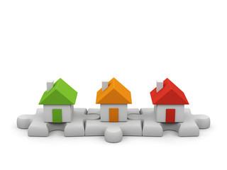 Houses - 3d render illustration on white background.