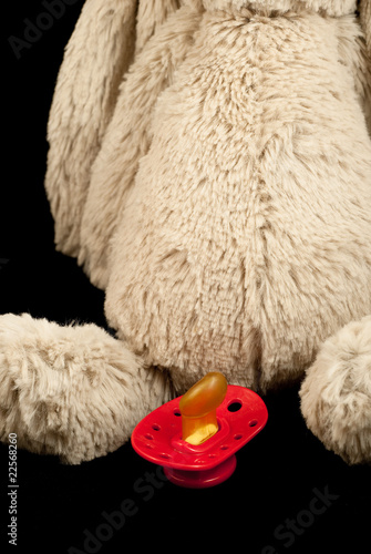 Toy bunny with red dummy against black background