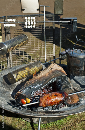 Roast meat on rustic barbecue