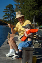 Angler showing Grandson