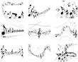 Musical notes backgrounds set