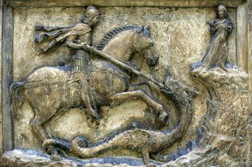 Medieval 16th century relief of St George and the Dragon
