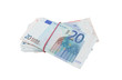 Euro banknotes with a rubber over white