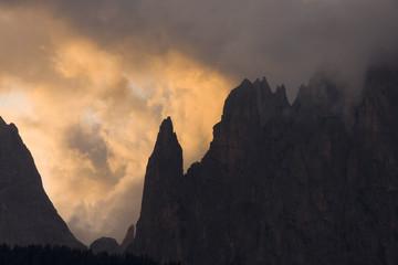 steep mountain at dawn