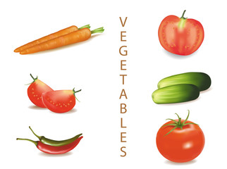 Photo-realistic vector illustration. Six vegetables.