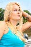 beautiful and wealthy young blondy woman poster