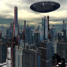 alien UFO navire dans le paysage futuriste
