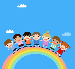 children and rainbow