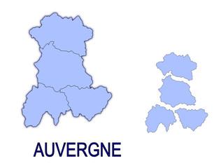 carte région auvergne France départements
