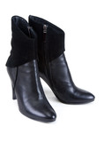 Black feminine leather boots with suede insertion poster