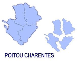 carte région poitou charentes France départements contour