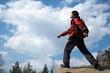 traveler moves through the mountains