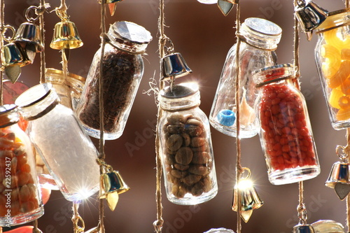 Decorative bottles on a string