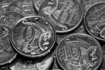 Small Change. Australian 10 cent pieces. Australian Currency.
