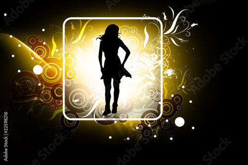 Poster Cute girl in abstract background
