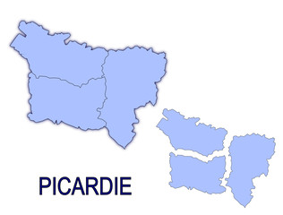 carte région picardie France départements contour