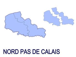 carte région nord pas de calais France départements contour