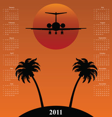 2011 calendar with plane flying over Tropical Island