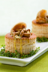 Vol-au-vents filled with mushroom