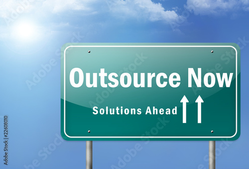 "Highway Sign ""Outsource Now - Solutions Ahead"""